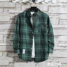 格子襯衫男士長袖韓版寬松潮流帥氣大碼學生外套春夏新款男裝襯衣 創意新品