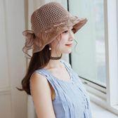 春夏季蝴蝶結帽子 針織帽 漏孔樹葉紋盆帽m120