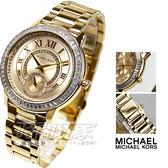 Michael Kors 公司貨 小秒針 時尚腕錶 女錶 不銹鋼 潮流金電鍍 MK6287 防水手錶