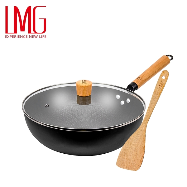 贈木鏟▶LMG長野不沾熟鐵鍋30cm加蓋