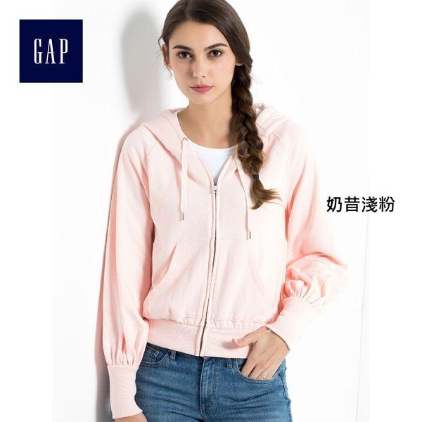 Gap女裝 簡約純色拉鏈連帽休閒外套 864892