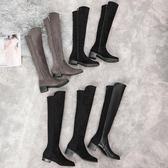 2018秋冬季新款sw5050過膝長靴女平底粗跟彈力長筒靴熊貓本