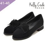 大尺碼女鞋-凱莉密碼-氣質學院風磨砂絨面蝴蝶結樂福鞋3.5cm(41-46)【BD182】黑色