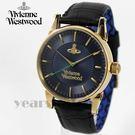【萬年鐘錶】 Vivienne Westwood 英國時尚精品壓紋皮革錶 金x古典藍  42mm  VV065NVBK