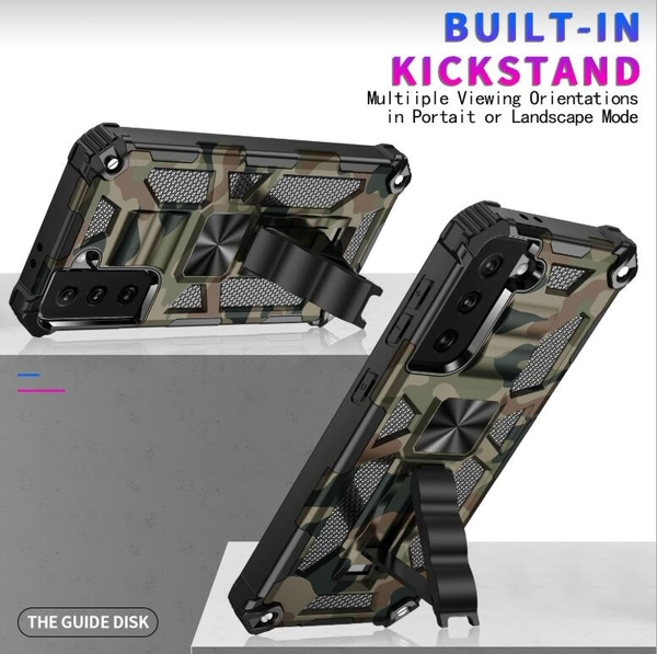 SamSung Note 20手機套創意 防摔潮流三星S21保護殼 簡約Galaxy S21+保護套 迷彩支架三星S21 Ultra手機殼