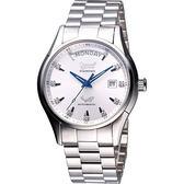 Ogival 愛其華 風華真鑽Day-Date 機械腕錶-銀/40mm 3357AJMS銀面