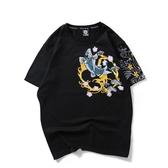 韓版男短T 韓版短袖上衣 夏季日系中國風鯉魚刺繡個性寬鬆大碼短袖T恤衫T恤衫休閒 wx3644