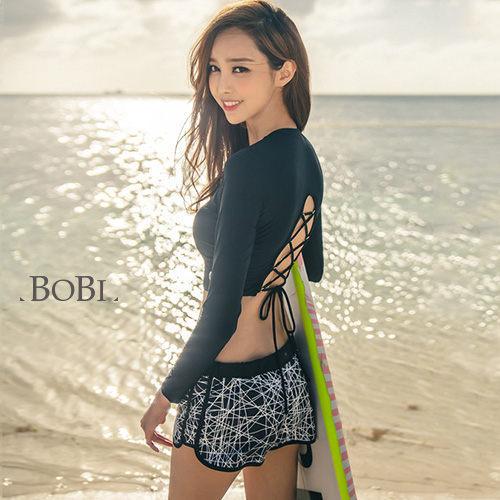 泳裝 比基尼 泳衣 後綁帶性感長袖泳裝溫泉泳衣【SF1718X】 BOBI夏天就是要穿比基尼