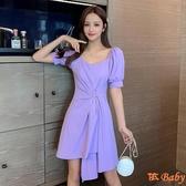 洋裝 夏季新款氣質裝韓版泡泡袖高腰顯瘦短袖方領連身裙 依Baby