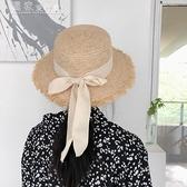 平頂帽丁走走/優雅日繫蝴蝶結平頂拉菲草草帽女夏季度假沙灘大檐遮陽帽 快速出貨