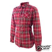 PolarStar 刷毛格子保暖衣 女 紅 P14210