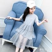 女童t恤裙短袖大碼女童洋裝新款夏裝網紅蛋糕裙連衣裙中大童洋氣時尚長裙 SN1580【夢幻家居】