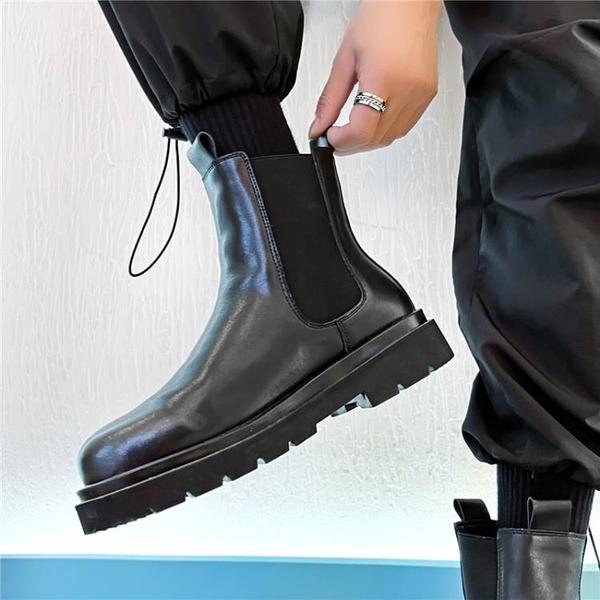 雪地靴 切爾西靴馬丁靴男高幫英倫冬季加絨保暖棉鞋短靴中幫煙筒皮靴男靴【快速出貨八折下殺】
