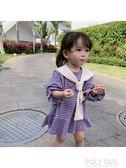 女童洋裝 香港靚妞女童裙子2019新款春裝條紋學院風超洋氣兒童小寶寶洋裝 polygirl