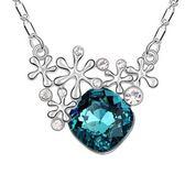 水晶項鍊+925純銀吊墜-優雅雪美人生日情人節禮物女飾品3色73bb45【時尚巴黎】