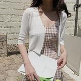 披肩 冰絲短款防曬小外套女開衫披肩薄款夏季外搭配吊帶裙子的空調衫女-Ballet朵朵