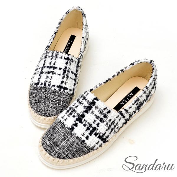 Sandaru山打努 ‧ ALISA 小香風織布格紋亮蔥懶人鞋-白