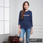 【JEEP】女裝 美式簡約LOGO元素長袖TEE (藍)