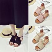 夏韓版新款平底女鞋厚底魚嘴防滑涼鞋學生粗跟百搭中跟羅馬鞋 科炫數位