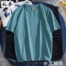 港風純色t恤男潮牌短袖寬鬆潮流新品純棉半袖百搭男女情侶裝上衣 小艾新品