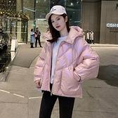 羽絨夾克-白鴨絨-亮面連帽寬鬆短版女外套3色73zc22【時尚巴黎】