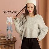 針織 毛衣 Space Picnic|V領寬鬆短版針織毛衣(預購)【C20103012】