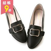amai文青皮帶方釦粗跟尖頭鞋 黑