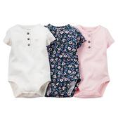 Carter's 美國童裝 包屁衣 連身衣 小碎花 三件組 (短袖) 18M