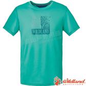 Wildland 荒野 0A61608-05灰綠色 男咖啡紗印花抗菌上衣 抗紫外線/彈性纖維/吸濕排汗/休閒衫/圓領T*