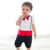 短袖連身衣 假兩件 圓領 紳士領結 爬服 哈衣 男寶寶 小紳士 小花童 Augelute Baby 60253