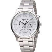 agnes b. 巴黎城市戀人三眼計時手錶-銀/39mm V175-0DP0S(BU8010P1)