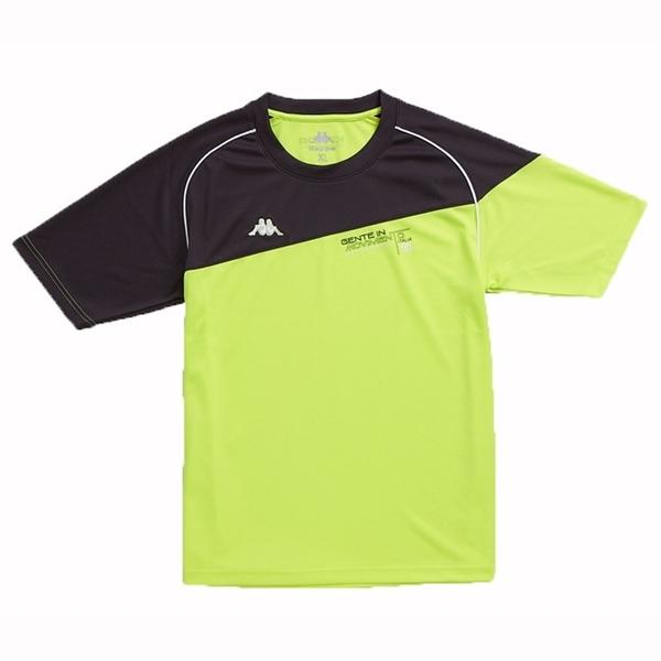 KAPPA義大利型男吸濕排汗速乾彩色圓領衫螢光黃 深灰