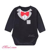 Moms care紳士紅領結長袖包屁衣 連體衣 爬爬服 嬰兒裝 兔裝 哈衣