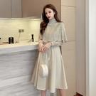 洋裝小禮服 韓系秋冬斗篷兩件套裝收腰蕾絲...