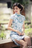 唐寶-衣十六-漢清旗袍-白底藍色鳳凰尾巴精美打版製作手工縫製