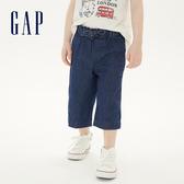 Gap女幼童 棉質舒適鬆緊牛仔褲 539042-深色水洗做舊
