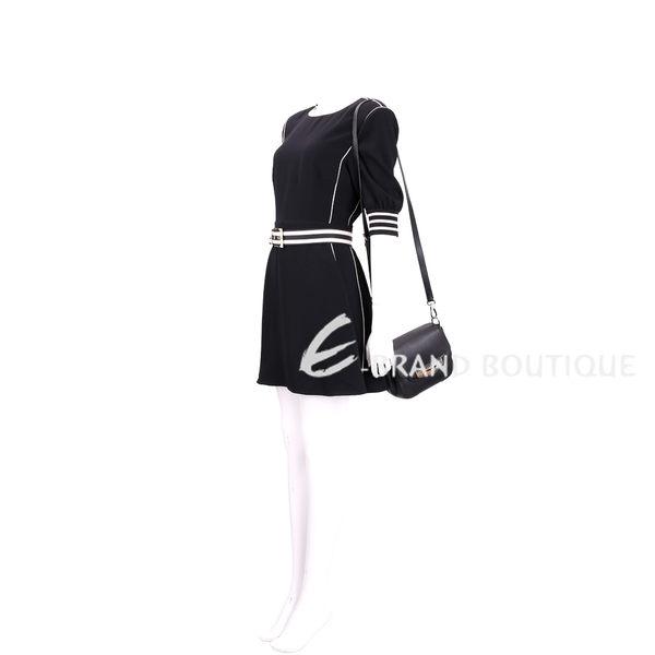 TOD'S NINA 編織金屬片飾牛皮斜背包(Mini/黑色) 1630195-01