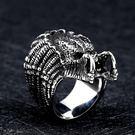 《 QBOX 》FASHION 飾品【RBR8-451】精緻歐美風鐵血外星戰士面具鑄造鈦鋼戒指/戒環