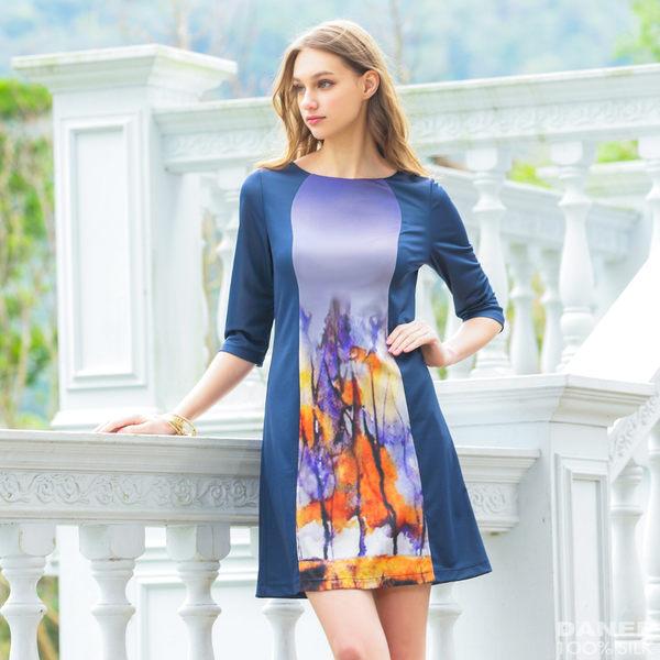 【岱妮蠶絲】抽象流行曲線剪裁五分袖蠶絲洋裝