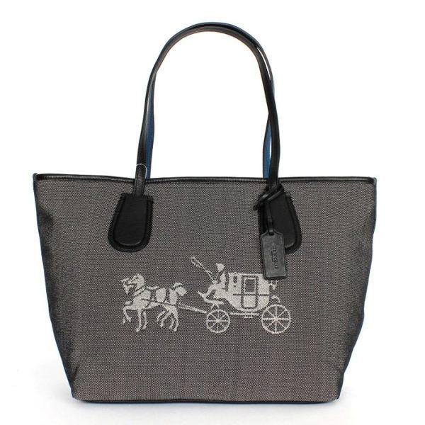 米菲客 COACH 35337 經典馬車logo織布皮革材質托特包 手提/肩背包 (黑)