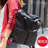 大容量束口造形菱格雙口袋二用防水後背包Catsbag-242160605