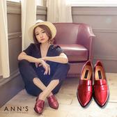Ann'S時髦復古-韓系粗跟紳士休閒便鞋 漆皮紅