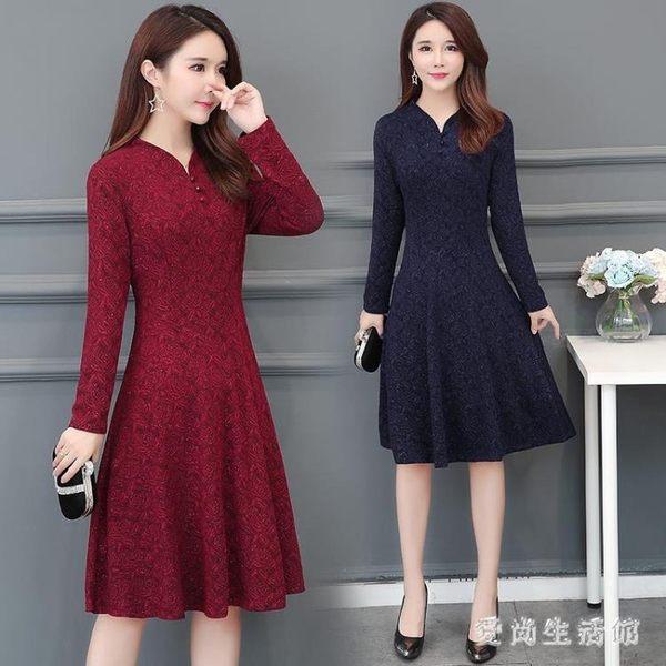中老年媽媽裝蕾絲洋裝 秋冬新款中長款女加絨加厚長袖蕾絲洋裝 BF21652『愛尚生活館』