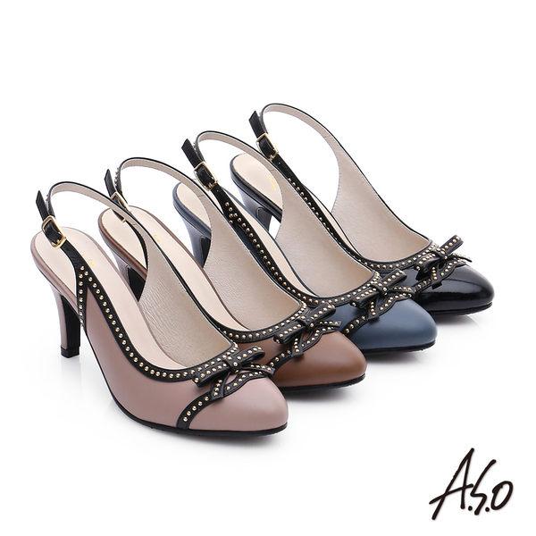 A.S.O 注目嬌點 真皮蝴蝶結鉚釘後空高跟鞋  黑