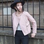 皮衣外套-韓版時尚修身顯瘦女機車夾克2色71al10【巴黎精品】