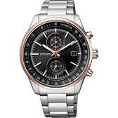 【送米奇電扇】送小牛皮錶帶 CITIZEN 星辰 限量 日本國家橄欖球隊計時錶-黑x玫瑰金圈/41mm CA7034-61E