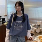 日系古著假兩件長袖t恤女寬鬆原宿風早秋上衣【小酒窩服飾】