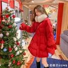 紅色羽絨棉服2020年新款女冬季中長款修身收腰棉衣棉襖百搭外套潮 美眉新品