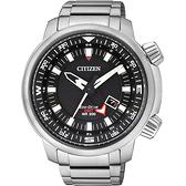 CITIZEN PROMASTER 光動能雙時區腕錶-黑/46mm BJ7081-51E