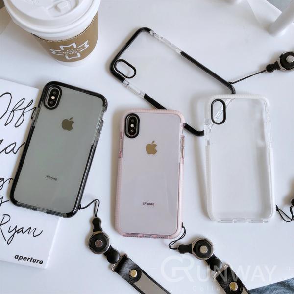 簡約文藝 色彩邊框 透明防摔殼 送掛繩 黑鏡頭圈 蘋果 iPhone 12 11 X Xs Max XR SE2 手機殼 全包邊軟殼